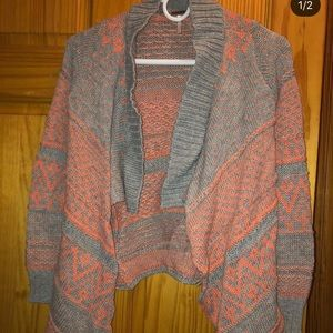 Orange And Gray Thick Knitted Cardigan